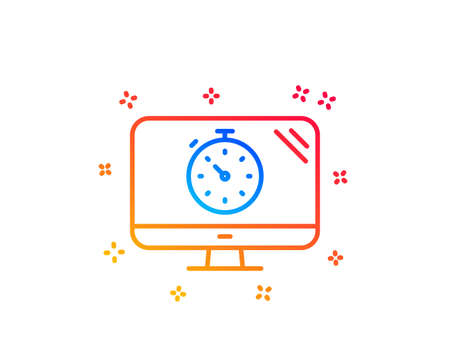 Seo timer line icon. Search engine optimization sign. Analytics symbol. Gradient design elements. Linear seo timer icon. Random shapes. Vector 向量圖像