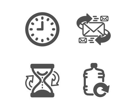 Set of Hourglass, E-mail and Clock icons. Refill water sign. Sand watch, Communication by letters, Time or watch. Cooler bottle.  Classic design hourglass icon. Flat design. Vector