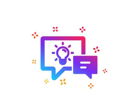 Idea lamp with Speech bubbles icon. Communication sign. Light bulb symbol. Dynamic shapes. Gradient design idea lamp icon. Classic style. Vector Ilustração