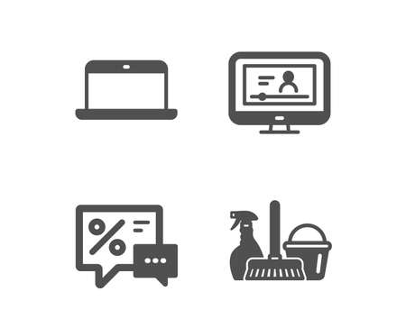 Set of Laptop, Discounts and Online video icons. Household service sign. Mobile computer, Best offer, Video exam. Cleaning equipment.  Classic design laptop icon. Flat design. Vector