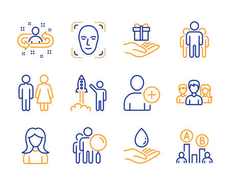 Face detection, Recruitment and Water care icons simple set. Restroom, Search people and Launch project signs. Add user, Teamwork and Group symbols. Woman, Loyalty program and Ab testing. Vector Illustration