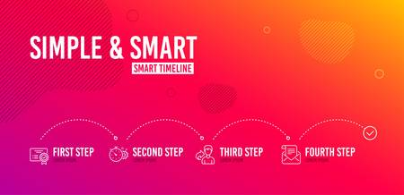 Infographic timeline. Share, Cogwheel timer and Certificate icons simple set. Mail newsletter sign. Male user, Engineering tool, Verified document. Open e-mail. Business set. 4 steps layout. Vector Illustration