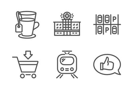 Parking place, Train and Tea icons simple set. Hospital building, Online market and Feedback signs. Transport, Tram. Business set. Line parking place icon. Editable stroke. Vector