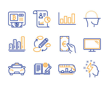 Monitor, Face scanning and Keywords icons simple set. Graph chart, Bitcoin atm and Report diagram signs. Engineering documentation, Taxi and Report symbols. Line monitor icon. Colorful set. Vector