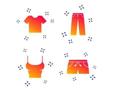 Clothes icons. T-shirt and pants with shorts signs. Swimming trunks symbol. Random dynamic shapes. Gradient pants icon. Vector