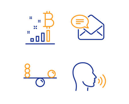 Bitcoin graph, Balance and New mail icons simple set. Human sing sign. Cryptocurrency analytics, Concentration, Received e-mail. Talk. Business set. Linear bitcoin graph icon. Colorful design set
