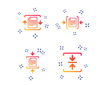 Archive file icons. Compressed zipped document signs. Data compression symbols. Random dynamic shapes. Gradient compression icon. Vector Illustration