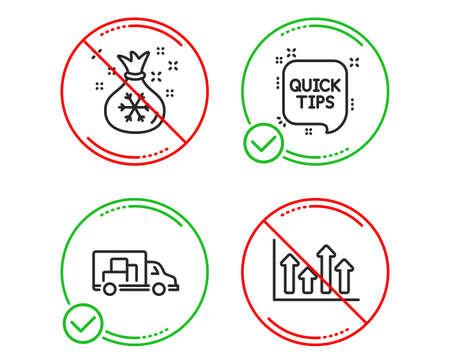 Do or Stop. Santa sack, Quick tips and Truck transport icons simple set. Upper arrows sign. Gifts bag, Helpful tricks, Delivery. Growth infochart. Business set. Line santa sack do icon. Vector Ilustração