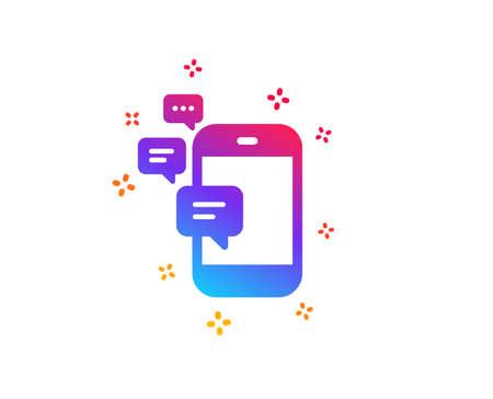Communication icon. Smartphone chat symbol. Business messages sign. Dynamic shapes. Gradient design communication icon. Classic style. Vector Ilustração