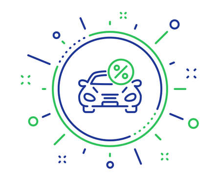 Car leasing percent line icon. Transport loan sign. Credit percentage symbol. Quality design elements. Technology car leasing button. Editable stroke. Vector
