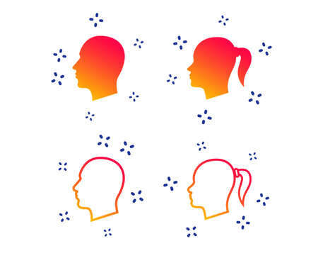 Head icons. Male and female human symbols. Woman with pigtail signs. Random dynamic shapes. Gradient head icon. Vector