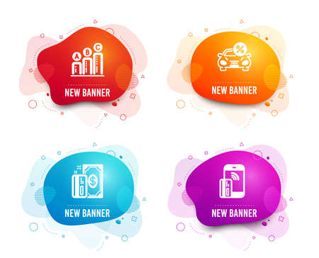Liquid badges. Set of Payment, Car leasing and Graph chart icons. Contactless payment sign. Cash money, Transport discount, Growth report. Phone money.  Gradient payment icon. Flyer fluid design