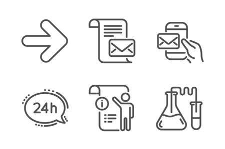 24h service, Next and Mail letter icons simple set. Manual doc, Messenger mail and Chemistry lab signs. Call support, Forward. Technology set. Line 24h service icon. Editable stroke. Vector Banque d'images - 119598628
