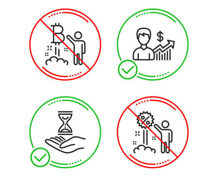 Do or Stop. Bitcoin project, Business growth and Time hourglass icons simple set. Discount sign. Cryptocurrency startup, Earnings results, Sand watch. Sale shopping. People set. Vector