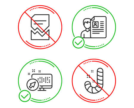 Do or Stop. Web system, Corrupted file and Job interview icons simple set. Candy sign. Computer, Damaged document, Cv file. Lollypop. Business set. Line web system do icon. Prohibited ban stop Stock Vector - 124229131