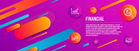 Header banner. Graph, Currency audit and Chart icons simple set. New star, Financial diagram and Report statistics signs. Presentation diagram, Money chart. Finance set. Line graph icon. Vector