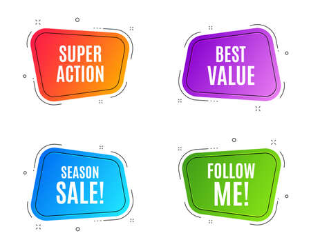 Geometric banners. Best value. Special offer Sale sign. Advertising Discounts symbol. Follow me banner. Clearance sale. Vector