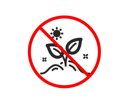 No or Stop. Leaves icon. Grow plant leaf sign. Environmental care symbol. Prohibited ban stop symbol. No grow plant icon. Vector Illustration