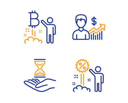 Bitcoin project, Business growth and Time hourglass icons simple set. Discount sign. Cryptocurrency startup, Earnings results, Sand watch. Sale shopping. People set. Linear bitcoin project icon