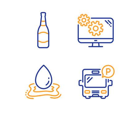 Beer bottle, Water splash and Settings icons simple set. Bus parking sign. Brewery, Aqua drop, Cogwheel tool. Public park. Business set. Linear beer bottle icon. Colorful design set. Vector Foto de archivo - 124229155