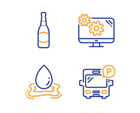 Beer bottle, Water splash and Settings icons simple set. Bus parking sign. Brewery, Aqua drop, Cogwheel tool. Public park. Business set. Linear beer bottle icon. Colorful design set. Vector
