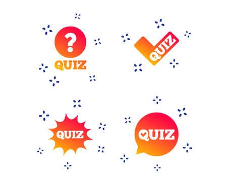 Quiz icons. Speech bubble with check mark symbol. Explosion boom sign. Random dynamic shapes. Gradient quiz icon. Vector