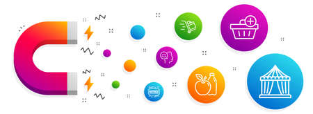 Magnet attracting. Good mood, Apple and Add purchase icons simple set. Push cart, Fastpass and Circus tent signs. Positive thinking, Diet food. Line good mood icon. Editable stroke. Vector Çizim