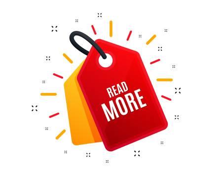 Etiqueta de venta. Leer más símbolo. Señal de navegación. Obtén información de descripción. Banner de compras. Oferta de mercado. Vector