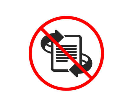 No or Stop. Marketing icon. Page with arrows sign. Article symbol. Prohibited ban stop symbol. No marketing icon. Vector