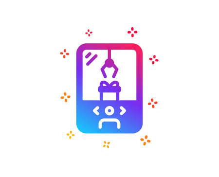 Crane claw machine icon. Amusement park sign. Carousels symbol. Dynamic shapes. Gradient design crane claw machine icon. Classic style. Vector Illustration