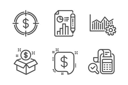 Payment message, Post package and Report document icons simple set. Operational excellence, Dollar target and Bill accounting signs. Finance, Postbox. Finance set. Line payment message icon. Vector