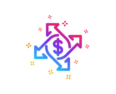 Payment exchange icon. Dollar sign. Finance transfer symbol. Dynamic shapes. Gradient design payment exchange icon. Classic style. Vector
