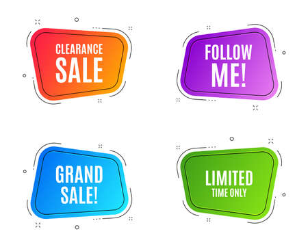 Geometric banners. Limited time symbol. Special offer sign. Sale. Follow me banner. Clearance sale. Vector