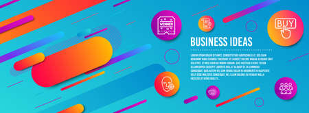 Header banner. Winner ticket, World travel and Report icons simple set. Buying, Problem skin and Group signs. Carousels award, Map pointer. Business set. Line winner ticket icon. Gradient elements