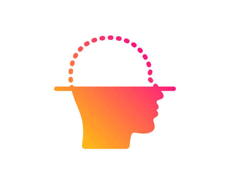 Face scanning icon. Facial scan sign. Head recognition symbol. Classic flat style. Gradient face scanning icon. Vector