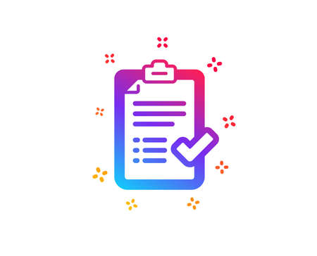 Approved checklist icon. Accepted or confirmed sign. Report symbol. Dynamic shapes. Gradient design approved checklist icon. Classic style. Vector Vectores