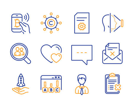 Face id, Copywriting network and Reject letter icons simple set. Search employees, Crowdfunding and Bitcoin pay signs. File settings, Businessman and Hearts symbols. Line face id icon. Colorful set