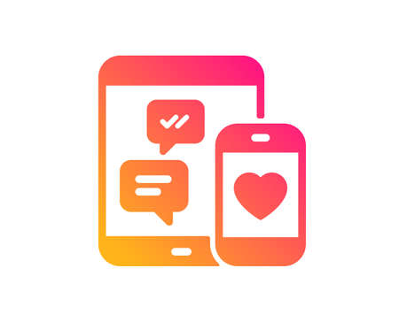 Social media messages icon. Mobile devices sign. Smartphone Love message symbol. Classic flat style. Gradient social media icon. Vector