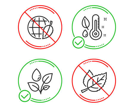 Do or Stop. Thermometer, Plants watering and Environment day icons simple set. Leaf sign. Grow plant, Water drop, Safe world. Nature leaves. Nature set. Line thermometer do icon. Prohibited ban stop Ilustrace