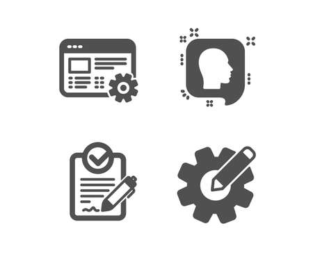 Set of Head, Web settings and Rfp icons. Cogwheel sign. Profile messages, Engineering tool, Request for proposal. Edit settings.  Classic design head icon. Flat design. Vector Illustration