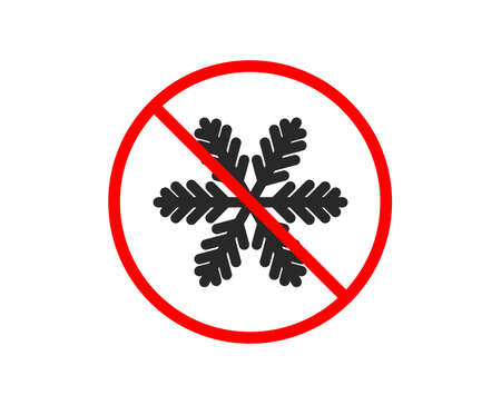 No or Stop. Snowflake icon. Christmas snow sign. Winter or cold symbol. Prohibited ban stop symbol. No snowflake icon. Vector
