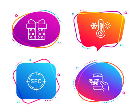 Seo, Gift box and Thermometer icons simple set. Education sign. Search target, Present package, Thermostat. Quick tips. Business set. Speech bubble seo icon. Colorful banners design set. Vector Vettoriali