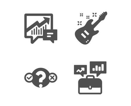 Set of Quiz test, Accounting and Electric guitar icons. Business portfolio sign. Select answer, Supply and demand, Musical instrument. Job interview.  Classic design quiz test icon. Flat design