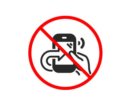 No or Stop. Call center service icon. Share phone call sign. Feedback symbol. Prohibited ban stop symbol. No share call icon. Vector Illustration
