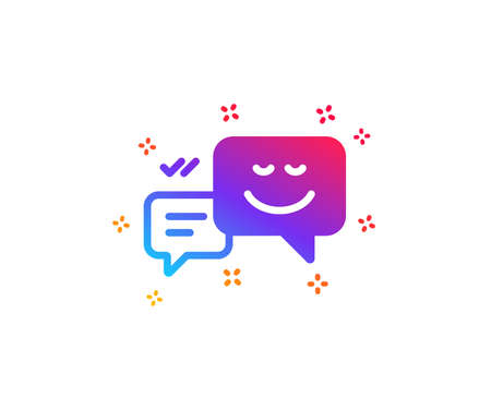 Message speech bubbles with Smile icon. Chat emotion sign. Dynamic shapes. Gradient design happy emotion icon. Classic style. Vector