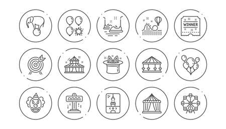 Amusement park line icons. Carousel, Roller coaster and Circus. Clown linear icon set. Line buttons with icon. Editable stroke. Vector Illustration