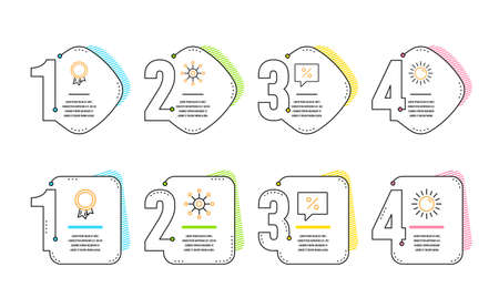Multichannel, Discount message and Success icons simple set. Sun sign. Multitasking, Special offer, Award reward. Summer. Infographic timeline. Line multichannel icon. 4 options or steps. Vector