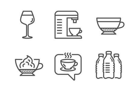 Coffee machine, Dry cappuccino and Coffee icons simple set. Bordeaux glass, Espresso cream and Water bottles signs. Cappuccino machine, Beverage mug. Food and drink set. Line coffee machine icon Illustration