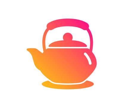 Icône de la théière. Signe de boisson chaude. Boisson fraîche dans le symbole de la bouilloire. Style plat classique. Icône de théière dégradé. Vecteur