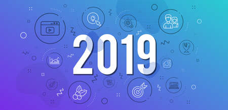 Infographic concept. Cogwheel, Web analytics and Energy icons simple set. Teamwork, Open mail and Credit card signs. Target, Video content and Fragile package symbols. 2019 year. Line cogwheel icon